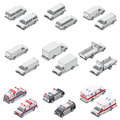 Minivan passenger, cargo, board mini truck commercial van, police and ambulance set icons Royalty Free Stock Photo