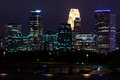 Minneapolis minnesota downtown at night time overlooking the mississippi river Royalty Free Stock Photography