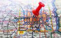 Minneapolis red tack in a map of minnesota Royalty Free Stock Photography
