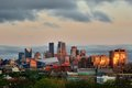 Minneapolis Skyline with Minnesota Vikings US Bank Stadium Royalty Free Stock Photo