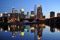 Minneapolis skyline at night Stock Photo