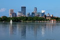 Minneapolis Skyline Reflecting in Lake Calhoun Royalty Free Stock Photo