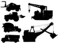Minning and construction machine set mining silhouettes over white background Stock Photography