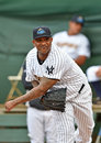 Minor league baseball cc sabathia trenton nj july ny yankees pitcher c c warms in the bullpen during an injury rehab appearance Stock Image