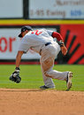 Minor League baseball - fielding a grounder Stock Photo