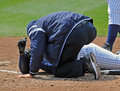 Minor League baseball injury at the plate Royalty Free Stock Image