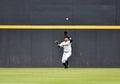 Minor league baseball trenton nj july trenton thunder center fielder mason williams prepares to catch a fly ball in center field Stock Images