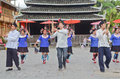 Minority chinese poeople dance village people dancing in chengyang guangxi china Royalty Free Stock Photography