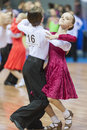 Minsk belarus –february unidentified professional d dance couple performs juvenile standard european program on idsa world Stock Photography