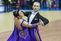 Minsk belarus march evgeniy zhukov – irina zhukova perfo perform senior standard european program on national wdsf championship Royalty Free Stock Photo