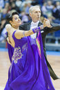 Minsk belarus march evgeniy zhukov – irina zhukova perfo perform senior standard european program on national wdsf championship Royalty Free Stock Image