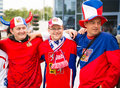 MINSK, BELARUS - MAY 11 - Czech Fans in Front of Chizhovka Arena on May 11, 2014 in Belarus. Ice Hockey Championship. Royalty Free Stock Photo