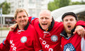 MINSK, BELARUS - MAY 11 - Norway Fans in Front of Chizhovka Arena on May 11, 2014 in Belarus. Ice Hockey Championship.