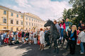 Minsk, Belarus. People Near Statue Of Carriage - The Governor