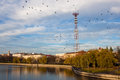 Minsk belarus telecommunication tower and a building where lee harvey oswald lived on the riverside in Royalty Free Stock Image