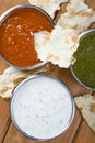 Mint chutney, mint yogurt and spicy pepper dip. Stock Photography