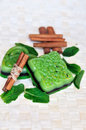 Mint and  cinnamon  handmade soap bars Stock Photos