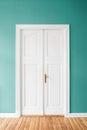 Mint green walls and wooden door in apartment