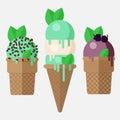 Mint ice cream cone. Mint ice cream scoop in cone with vanilla, chocolate and blackberry. Mint ice cream cones, vector Royalty Free Stock Photo