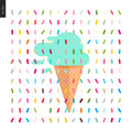 Mint Ice cream in a cone and pattern Royalty Free Stock Photo