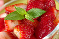 Mint Leaf on Strawberries Stock Photo