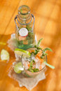 Mint and melon appetizer presentation of the aperitif made from fruit Stock Image