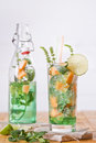 Mint and melon appetizer presentation of the aperitif made from fruit Stock Photo