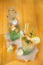 Mint and melon appetizer presentation of the aperitif made from fruit Stock Photography