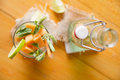 Mint and melon appetizer presentation of the aperitif made from fruit Royalty Free Stock Image