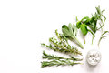Mint, sage, rosemary, thyme - aromatherapy white background Royalty Free Stock Photo