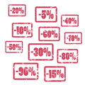 Minus percents red  stamps. Sale or discount percent stamp icons set. Royalty Free Stock Photo