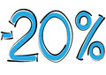 Minus twenty percent discount on a white background Stock Photography