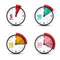 5, 10, 15, 20 Minutes Analog Clock Icons Royalty Free Stock Photo