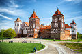 Mir castle in belarus medieval village Royalty Free Stock Images