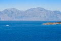 Mirabello bay crete greece white boat in Royalty Free Stock Photo