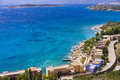 Mirabello bay near agios nikolaos in crete island greece view at Royalty Free Stock Photography