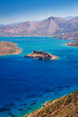 Mirabello bay with Spinalonga island on Crete Stock Image