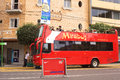 Mirabus sightseeing bus in miraflores lima peru april unidentified people on front of the restaurant rustica on av diagonal on Royalty Free Stock Photography
