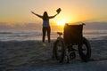 Miracle spiritual healing crippled woman walking at beach at sun