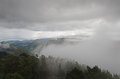 Mirador del fito fog covers the valleys in the cantabrian mountains spain Stock Images