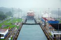 Miraflores locks panama canal nov is the name of one of the three that form part of the panama canal on nov in Stock Images