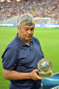 Mircea lucescu with award photo was taken during the match between shakhtar donetsk city and dynamo kyiv at stadium arena lviv Stock Photos