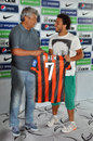 Mircea lucescu and wellington nem on friday july shakhtar team officially introduced six new recruits the former player of donetsk Stock Photography