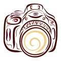 Mirror digital camera with a large lens Royalty Free Stock Photo