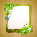 Mirror frame with clover and butterfly over wood background Stock Photos