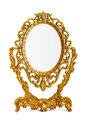 Mirror golden antique on white background clipping path included Stock Photos