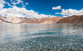 Mirror lake and cloud on bluesky white Stock Photo