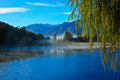 Mirror lake in New Zealand outback. Royalty Free Stock Photo
