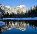 Mirror lake in yosemite national park Stock Photo