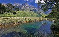 Mirror Lakes (Fjordland, New Zealand) Royalty Free Stock Photo